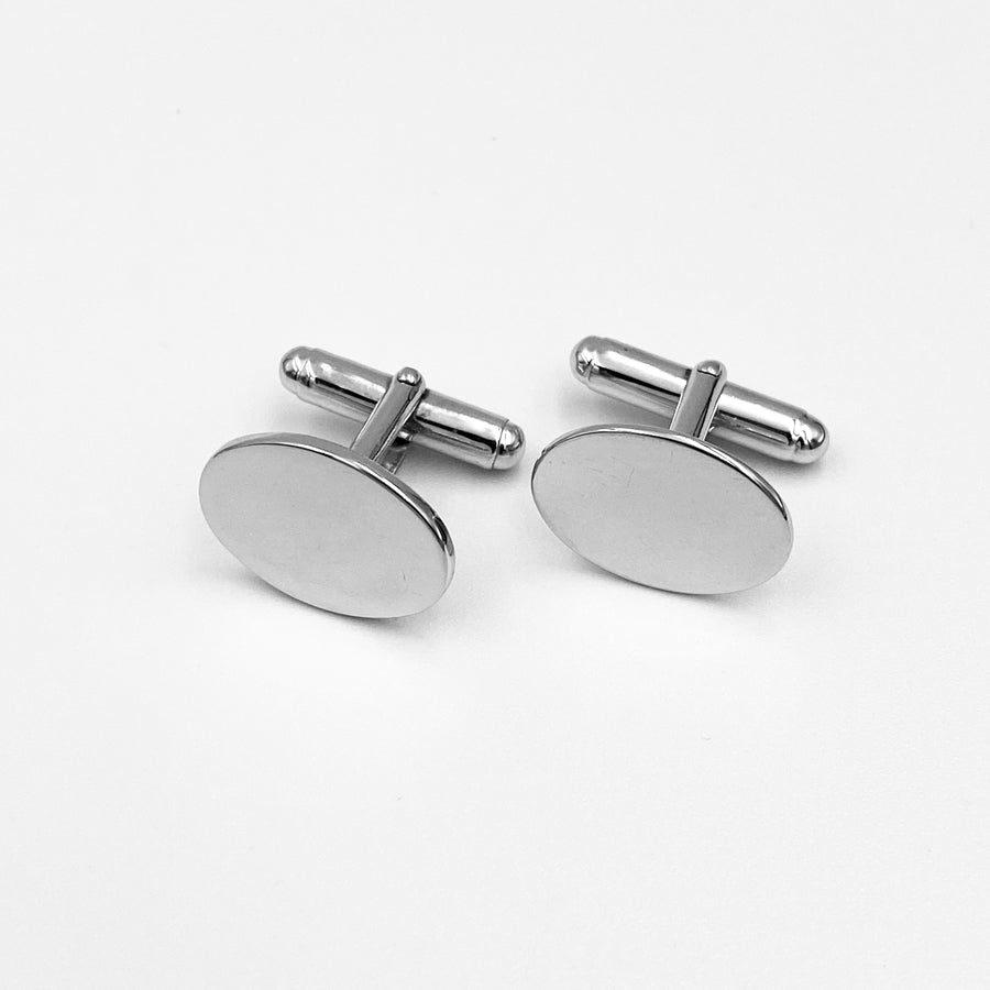 Classic oval highly polished sterling silver rhodium plated cuff links
