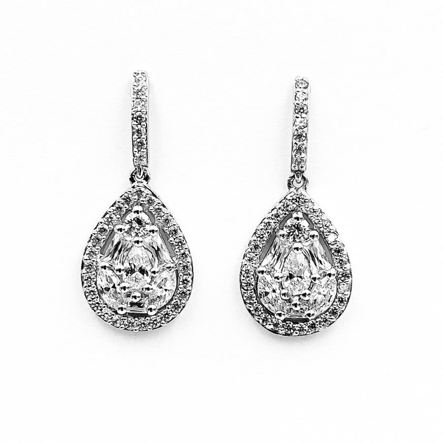 Cluster drop cubic zirconia sterling silver rhodium plated earrings