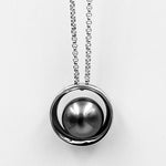 Cosmic 11-11.5mm black tahition pearl sterling silver rhodium plated pendant
