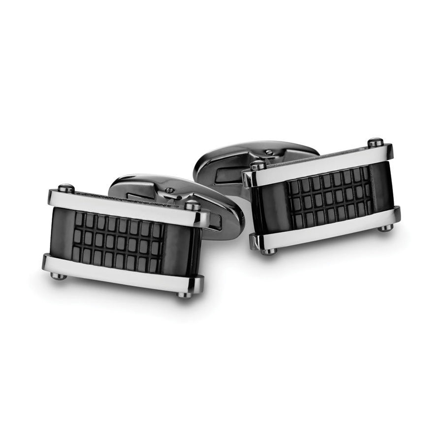 Cuff links stainless steel rectangular black finish