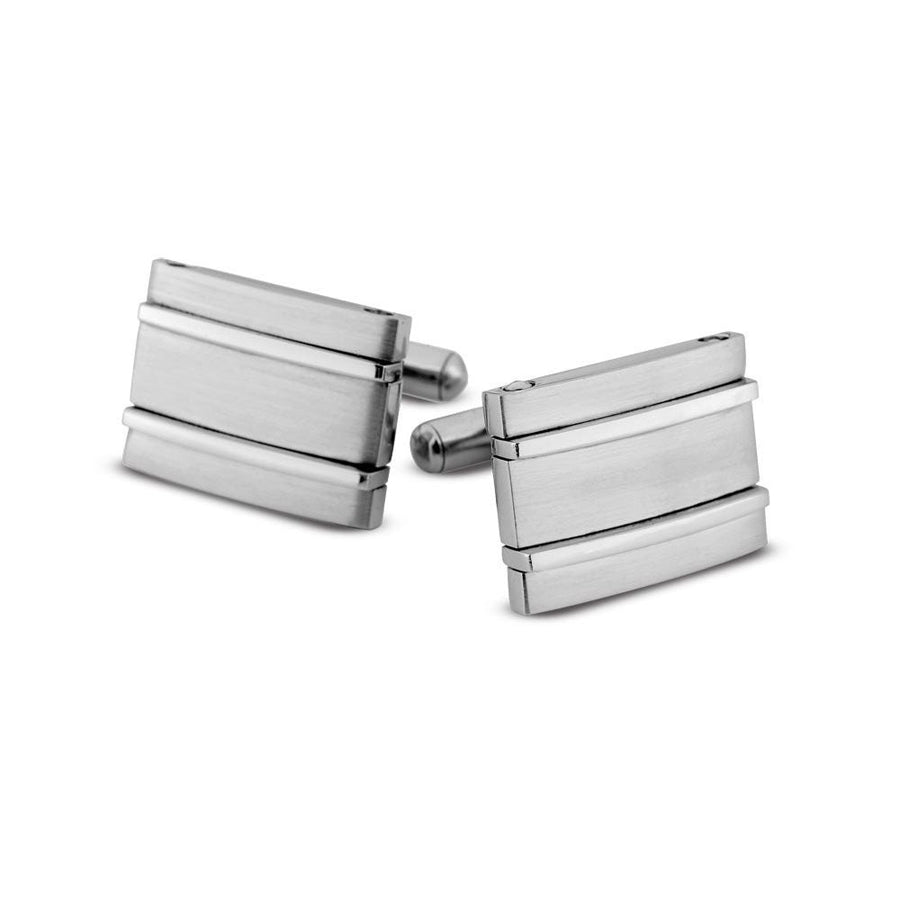 Cuff links stainless steel rectangular brushed finish polished grooves