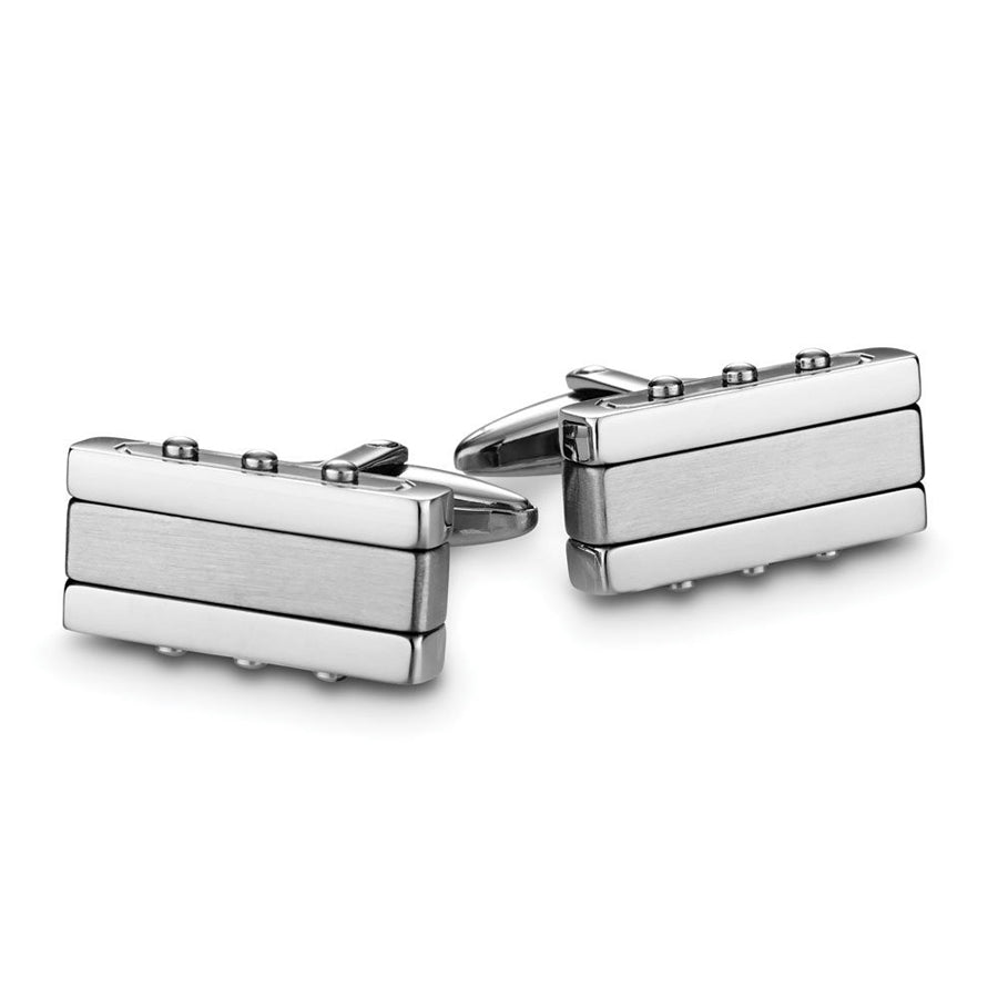 Cuff links stainless steel rectangular polished and matt finish