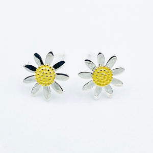 Daisy 10mm sterling silver gold plated stud earrings