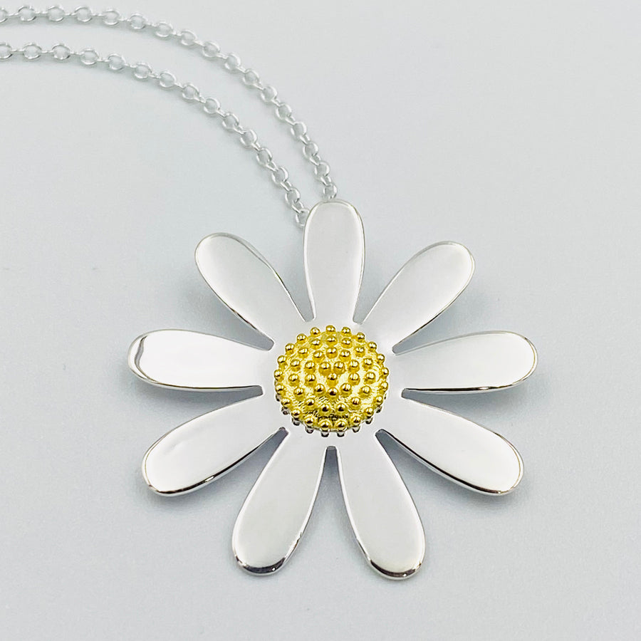Daisy 30mm sterling silver gold plated pendant