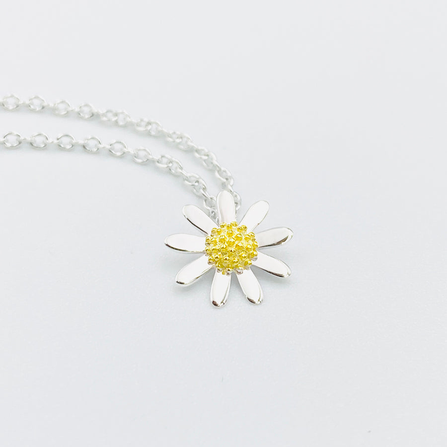 Daisy tiny 10mm sterling silver gold plated pendant