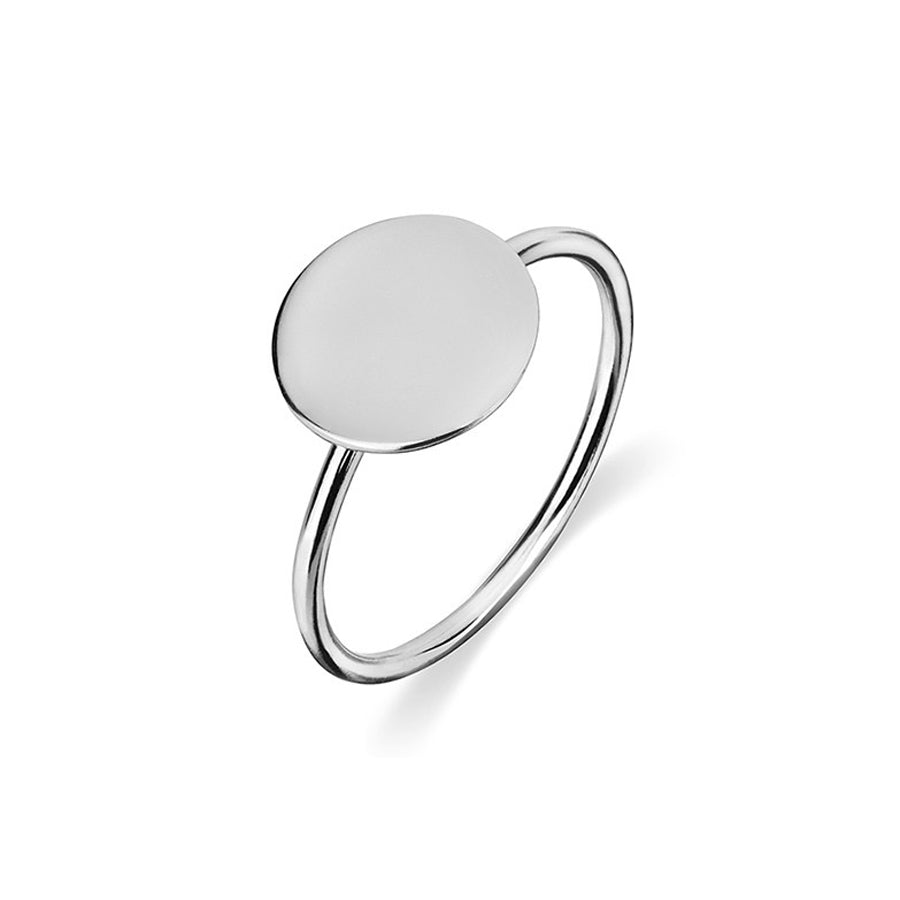 Disc round sterling silver ring