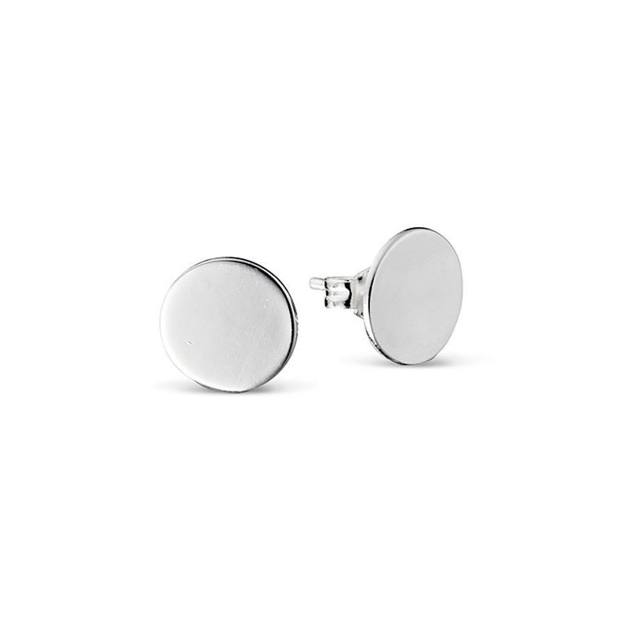 Disc studs 10mm sterling silver polished earrings