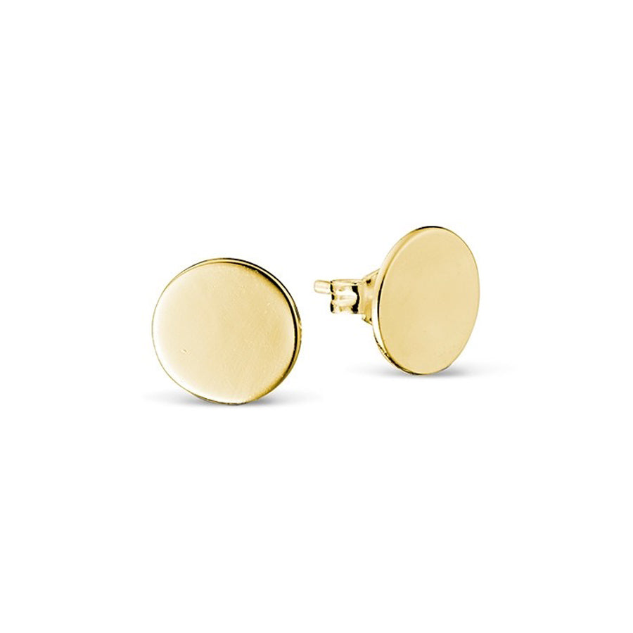 Disc studs 10mm sterling silver yellow gold plated earrings