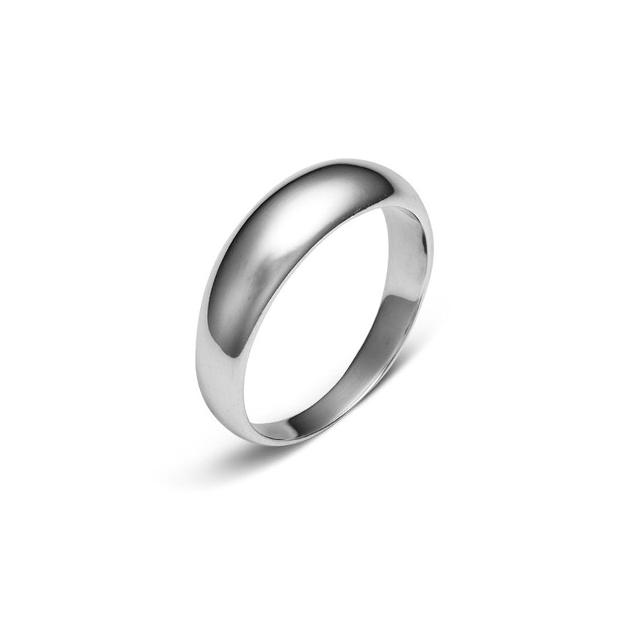 Domed polished solid sterling silver ring