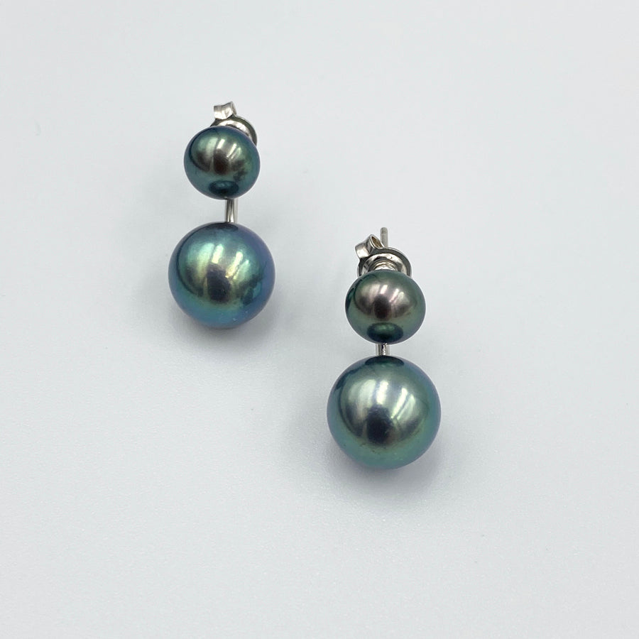 Double black fresh water pearl sterling silver rhodium plated earrings