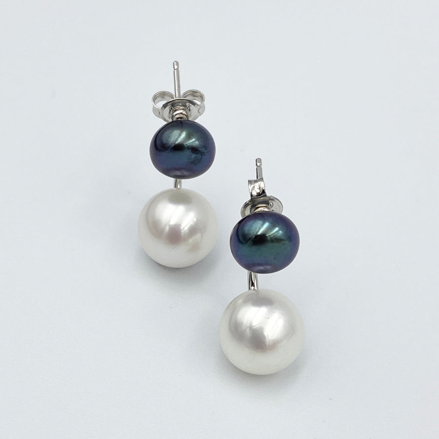 Double black white fresh water pearl sterling silver rhodium plated earrings