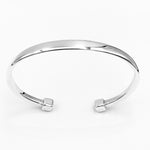 Double cube cuff solid polished sterling silver 70mm