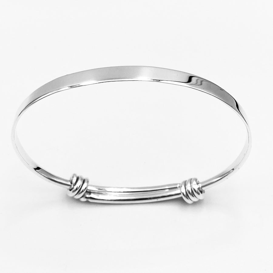 Double knot solid sterling silver expandable bangle 70mm