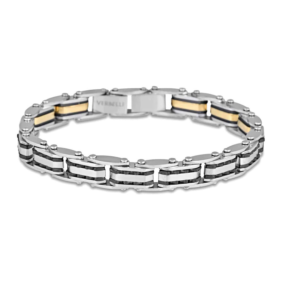 Double sided stainless steel two tone 6mm 20cm ajustible length bracelet