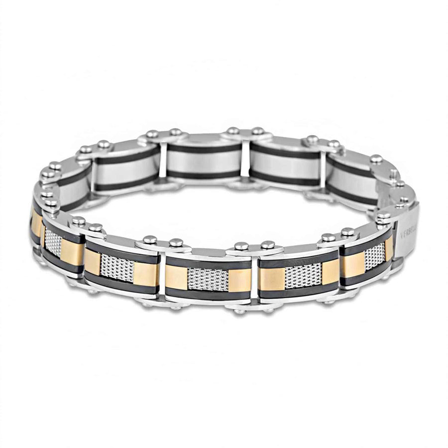 Double sided stainless steel two tone 9mm 20cm adjustable length bracelet