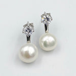Double white fresh water pearl and cubic zirconia sterling silver rhodium plated earrings
