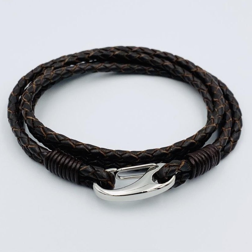 Double wrap brown leather stainless steel clasp bracelet