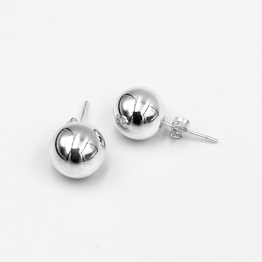 Euro 9-10mm sterling silver ball stud earrings