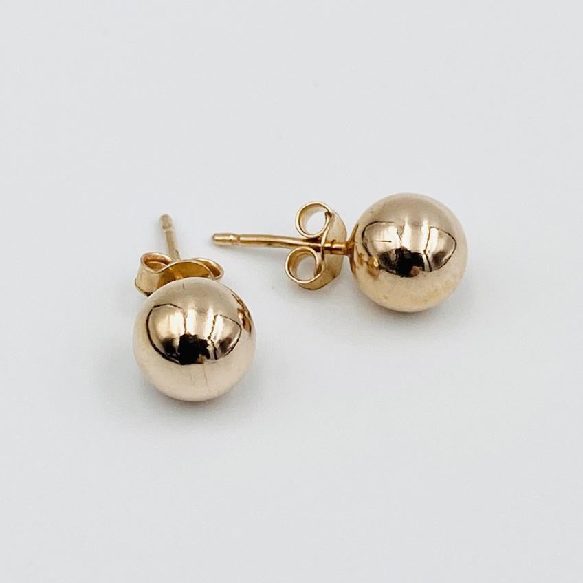 Euro 9ct rose gold 8mm ball stud earrings