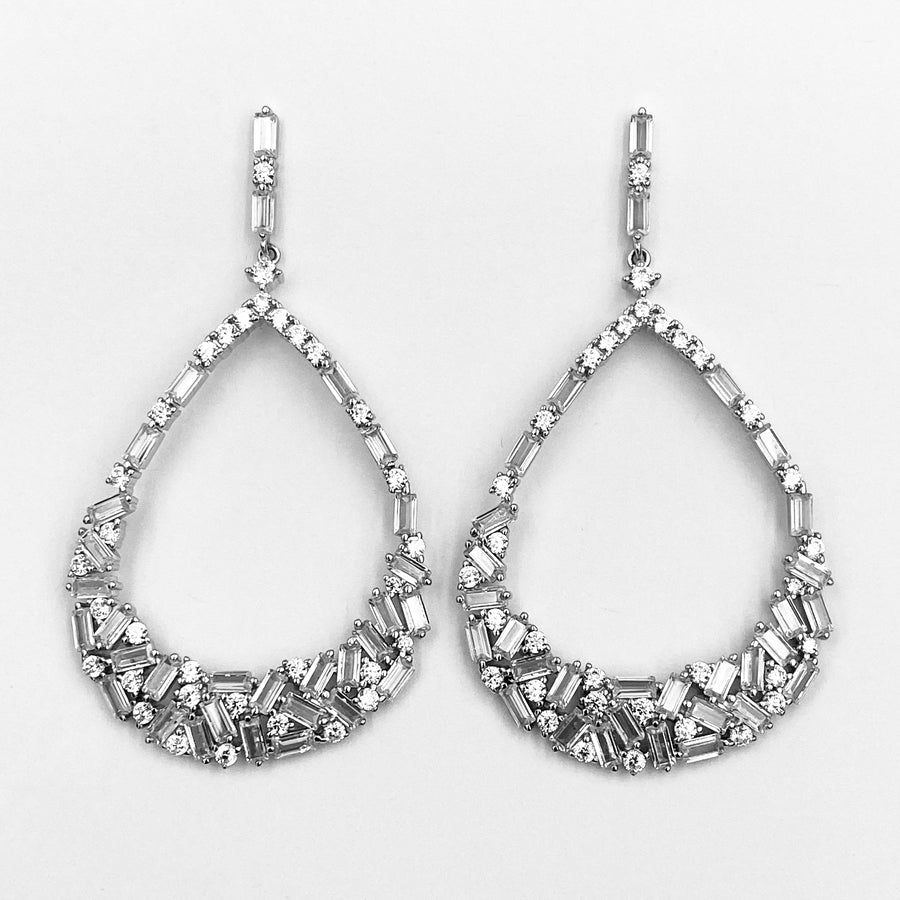 Exquisite cubic zirconia large sterling silver rhodium plated earrings