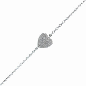 Heart cubic zirconia sterling silver rhodium plated adjustible bracelet