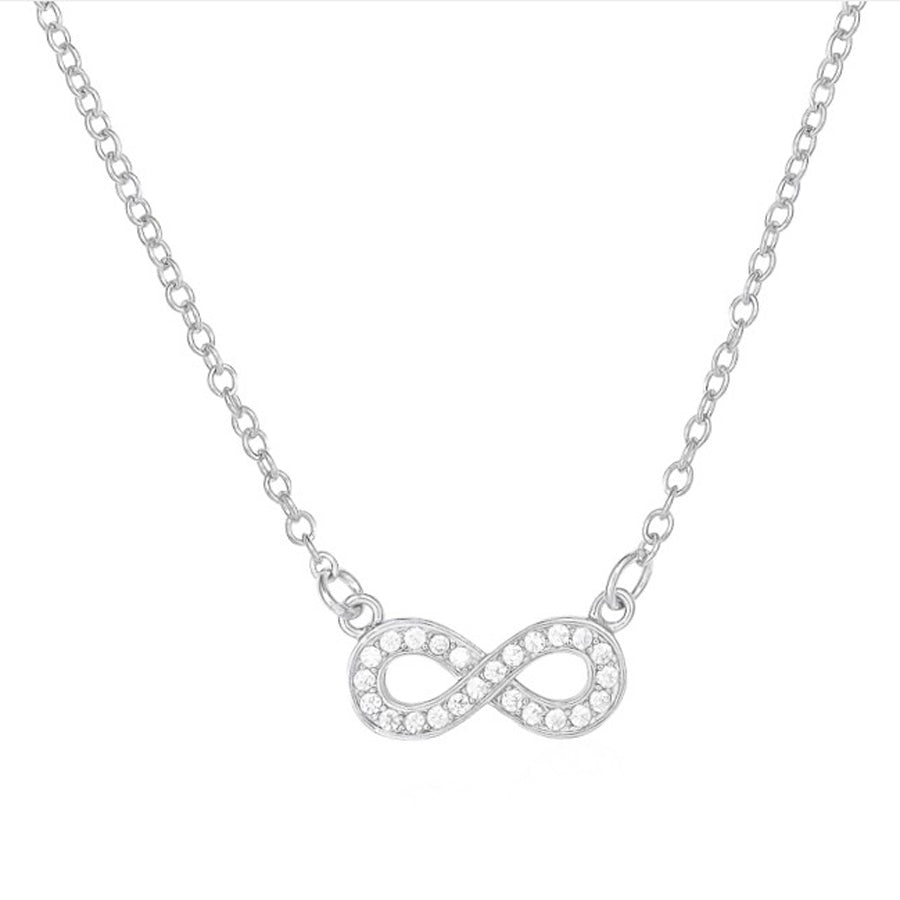Infinity cubic zirconia sterling silver rhodium plated adjustable chain