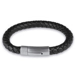 Leather black stainless steel clip clasp bracelet