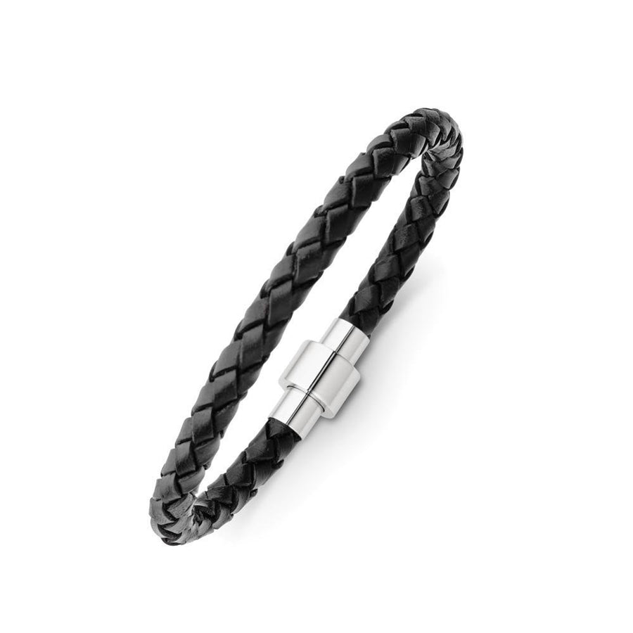 Leather black stainless steel magnetic square clasp bracelet