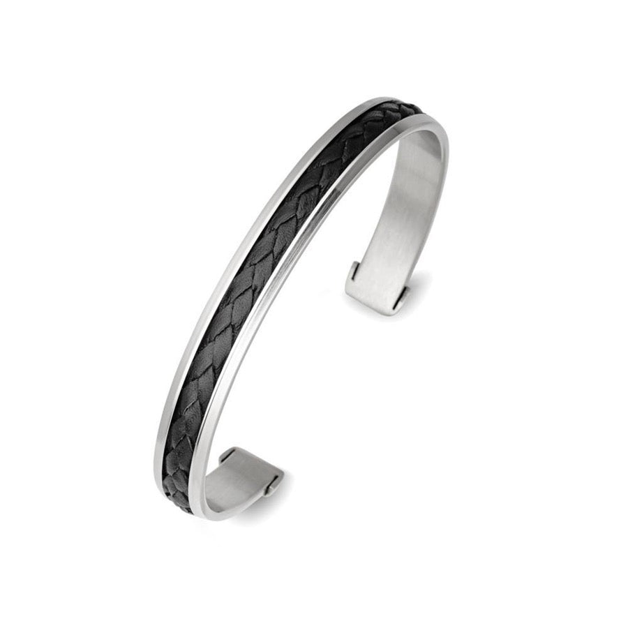 Cuff stainless steel black leather bangle