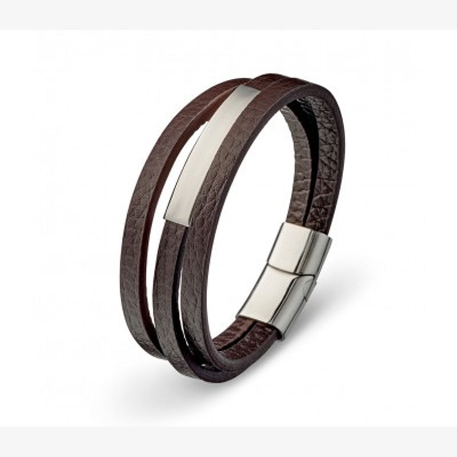 Multi strand bracelet brown leather stainless steel plate and clasp