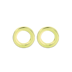Open disc studs 6mm sterling silver yellow gold plated earrings