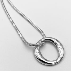 Open large 'O' 30mm solid sterling silver pendant