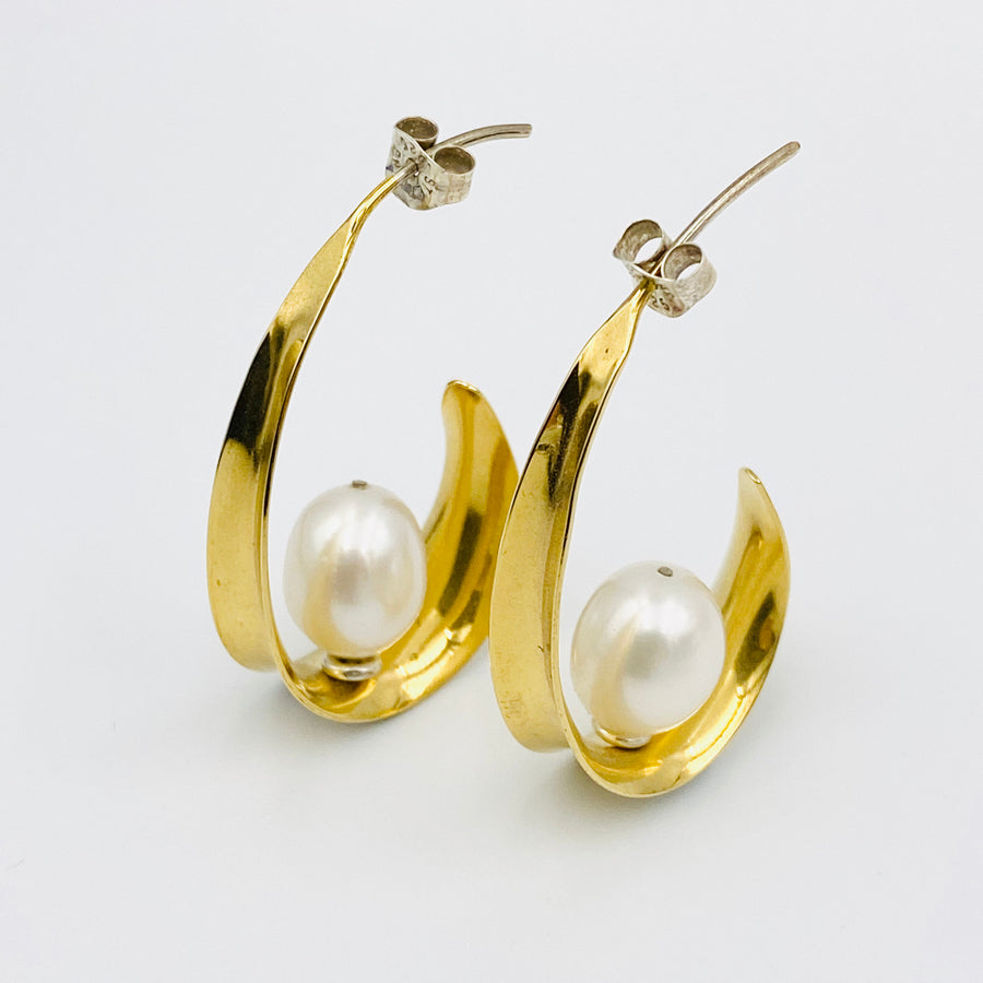 Oval sterling silver gold plated white fresh water pearl earrings
