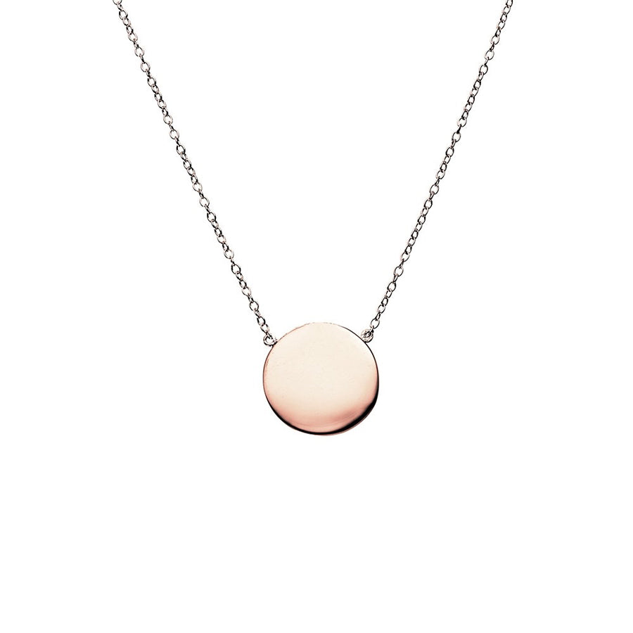 Petite disc sterling silver rose gold plated fine adjustable necklett