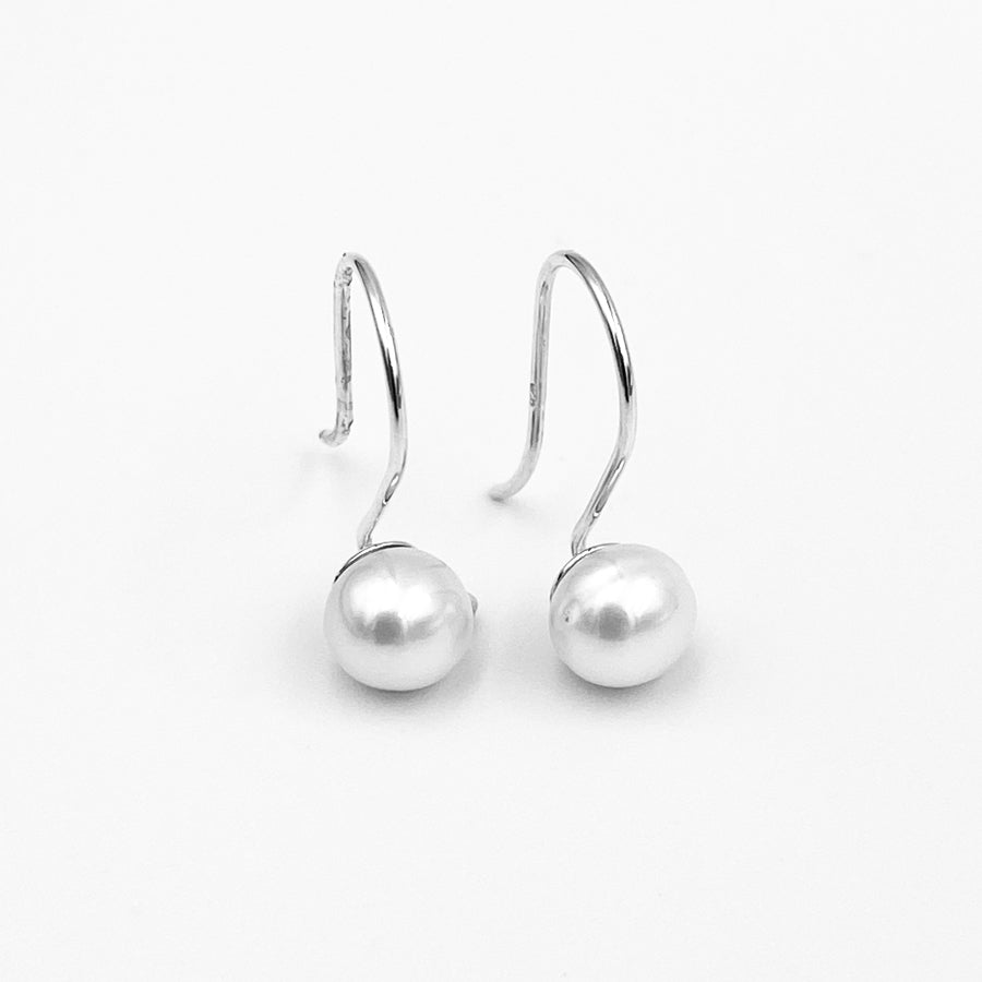 Petite sterling silver 7mm white fresh water pearl shepherd hook earrings