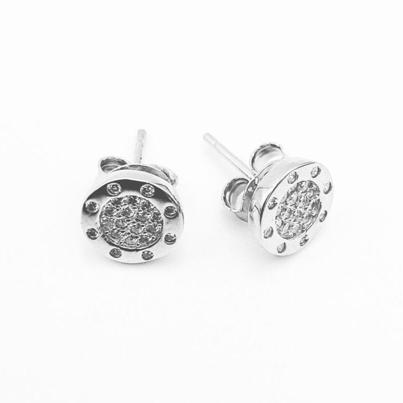 Studs sterling silver rhodium plated cubic zirconia earrings