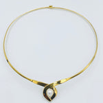 Tear drop collar sterling silver gold plated white fresh water pearl necklett
