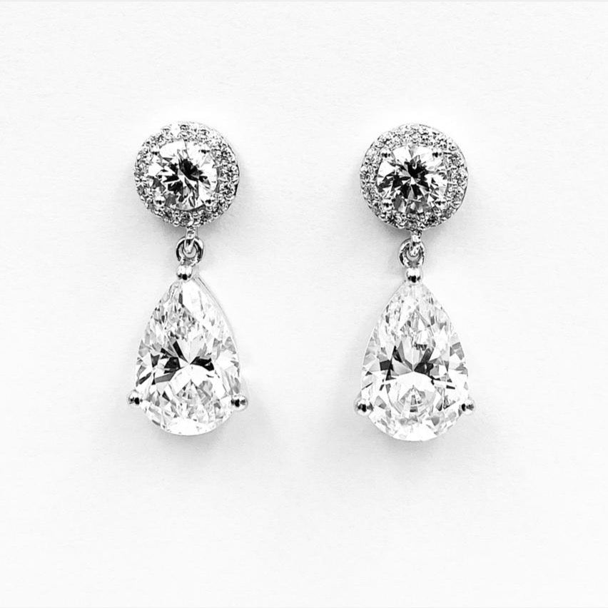 Tear drop round cubic zirconia sterling silver rhodium plated earrings 2
