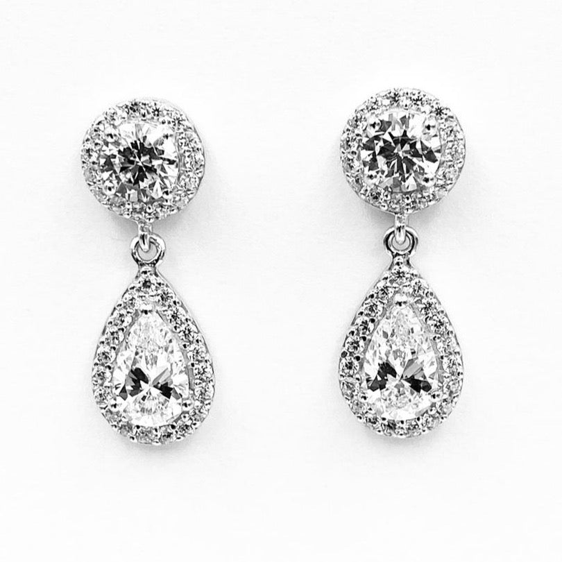 Tear drop round cubic zirconia sterling silver rhodium plated earrings