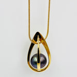 Tear drop sterling silver gold plated black fresh water pearl pendant