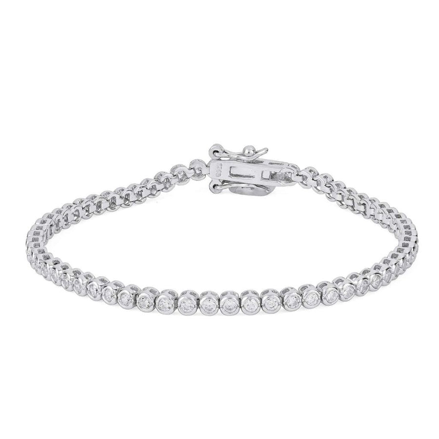 Tennis cubic zirconia sterling silver rhodium plated fine bracelet