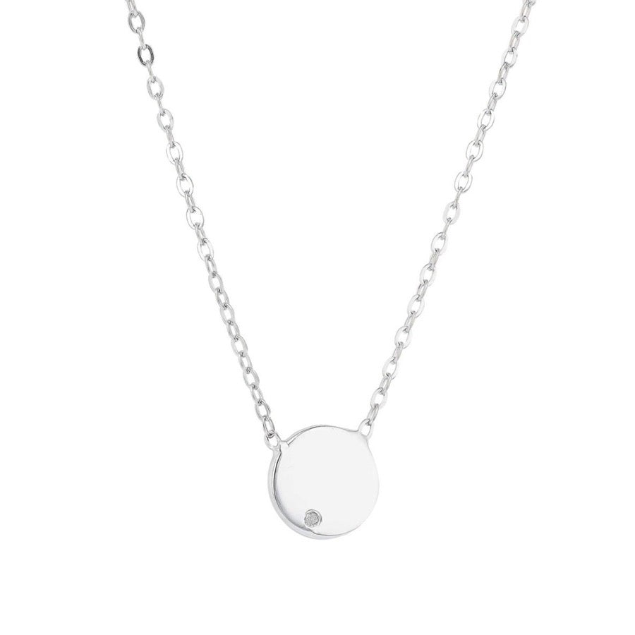 Load image into Gallery viewer, Tiny disc diamond pendant