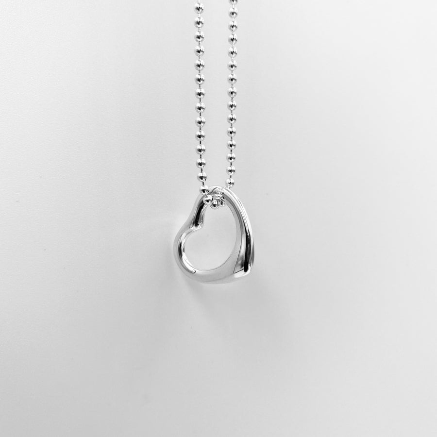 Tiny open heart 12mm solid sterling silver pendant