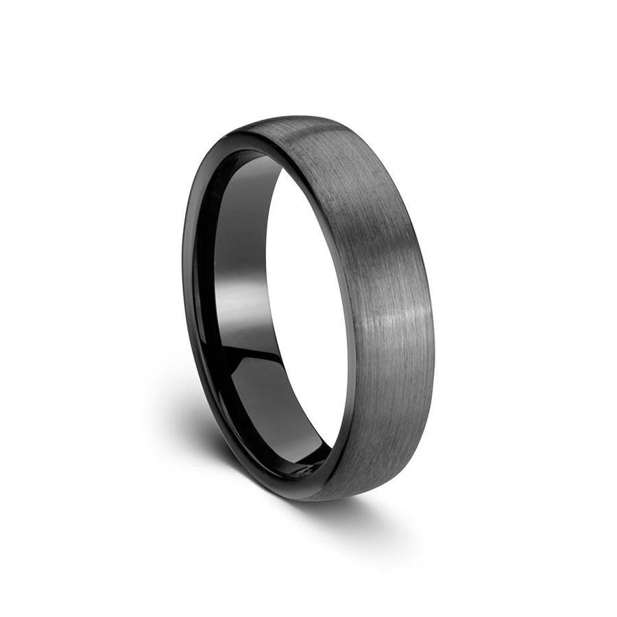 Tungsten ring grey slightly domed brushed finish