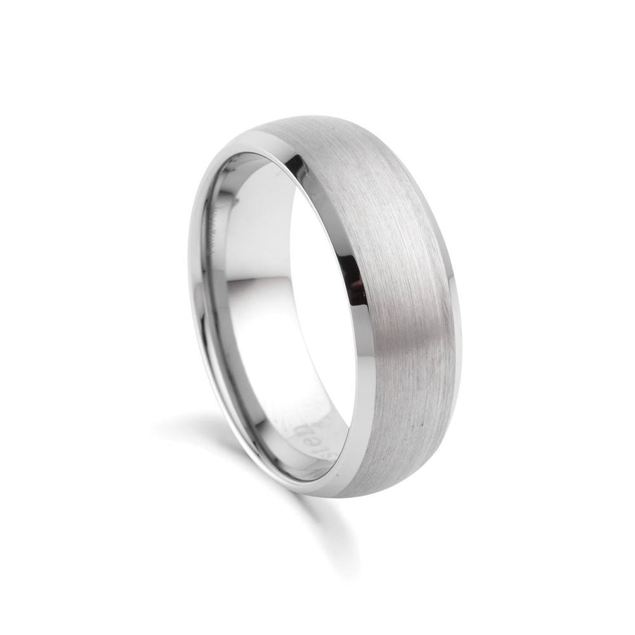 Tungsten ring slightly domed brushed finish