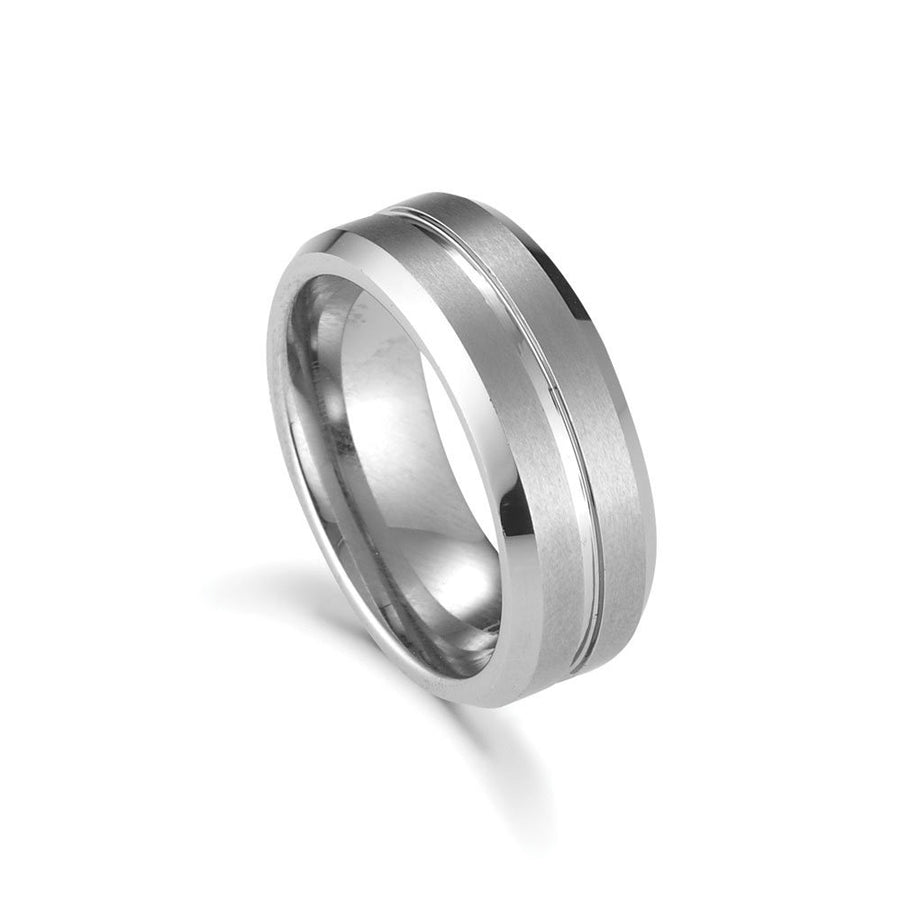 Tungsten ring squared matt finish with polished faceted sides and centre groove