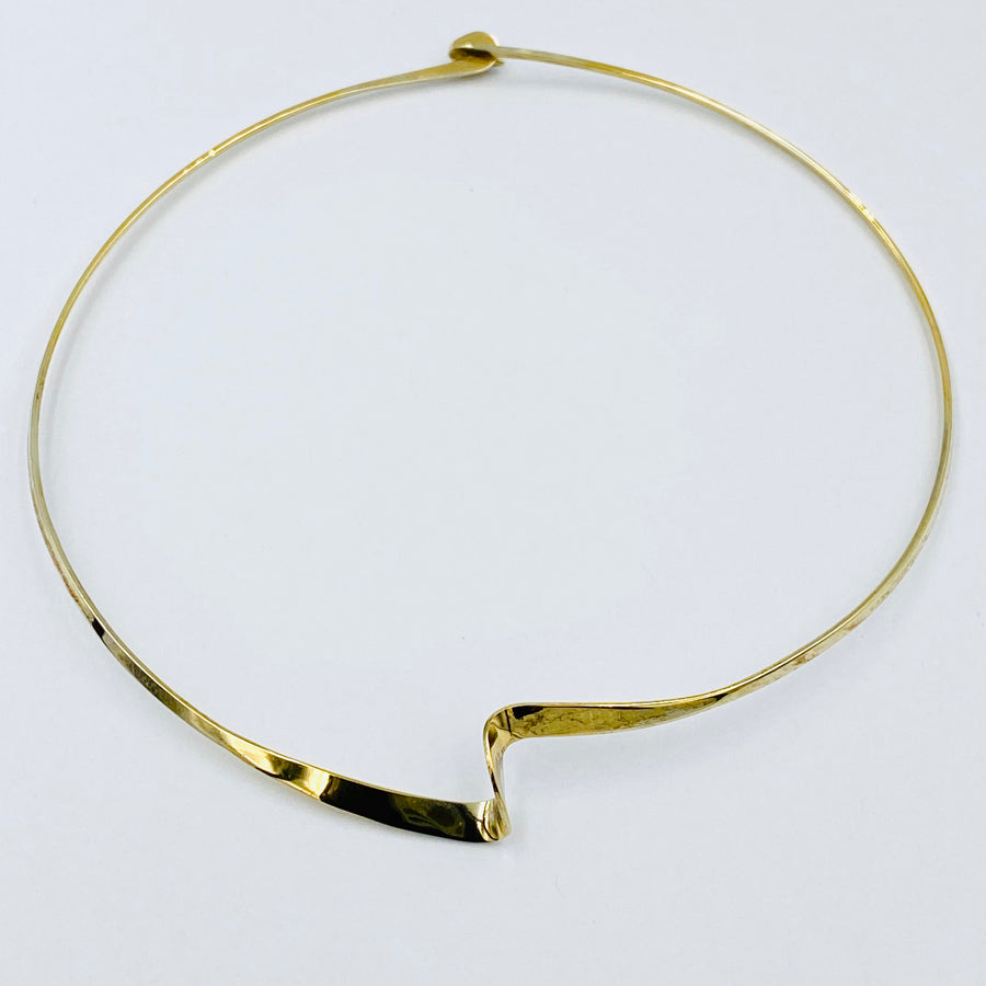 Twist choker sterling silver gold plated necklett