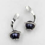 Twist sterling silver black fresh water pearl drop earrings