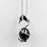 Twist sterling silver black fresh water pearl pendant