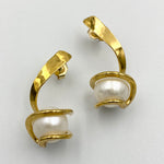 Twist sterling silver gold plated white fresh water pearl earrings